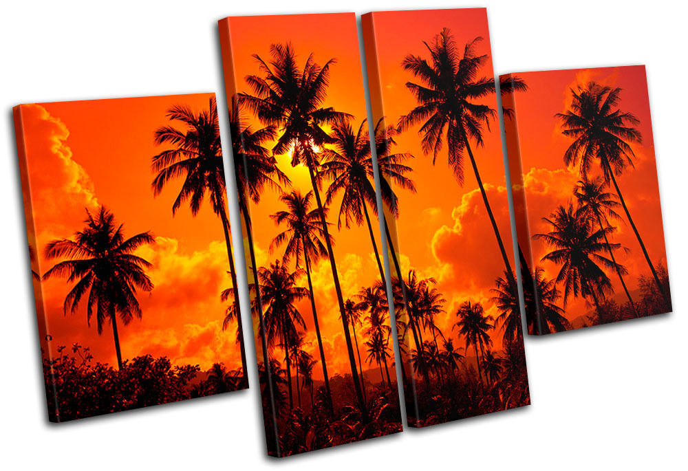 Palm Trees Sunset Seascape MULTI CANVAS WALL ART Picture