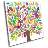 Colourful tree Illustration SINGLE CANVAS WALL ART Picture