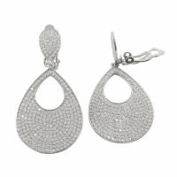 Sterling Silver White Pave CZ Cutout Teardrop Womens Clip