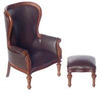 Dollhouse Miniature Victorian Rococo Wing Chair with ...
