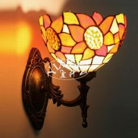 Tiffany Style Sunflower Stained Glass Wall Sconce Single ...