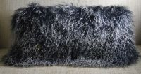 ReaL Mongolian ( Tibet ) Lamb Black 2 Tone Fur Pillow New