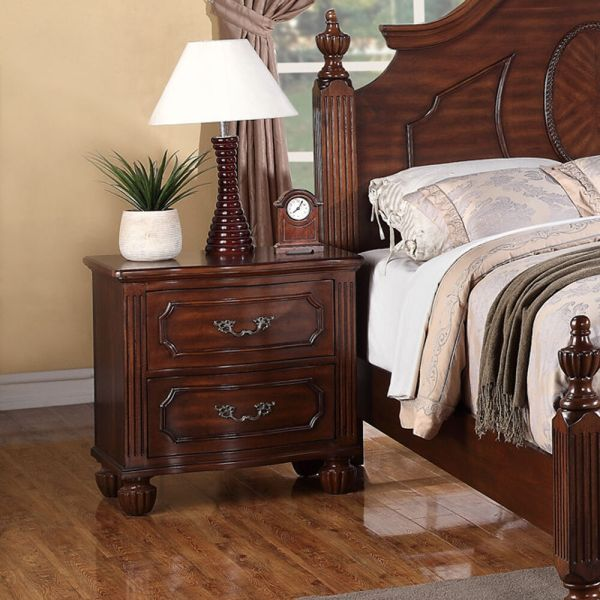 Antique Contemporary Nightstand Natural Cherry Wood Finish
