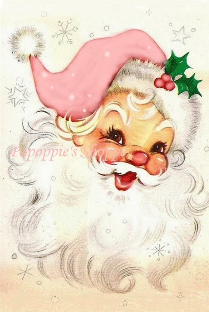 Fabric Block Chic Shabby Pink Jolly Santa Claus Twinkly