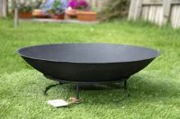 Round Outdoor Metal Fire Pit Bowl for Garden Patio Heating ...