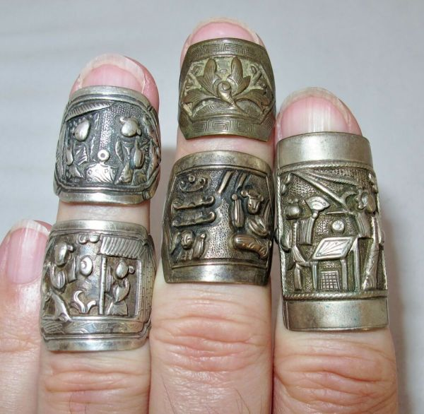 2 Antique Chinese Sterling Silver & 3 Metal Rings Ring