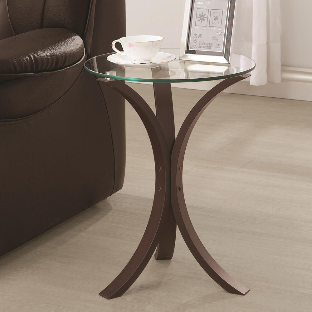 Accent Snack Sofa End Chair Side Table Stand Round Glass Top Cappuccino Base  eBay