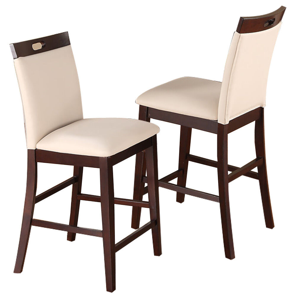 2 pc Dining High Counter Height Side Chair Bar Stool 24H