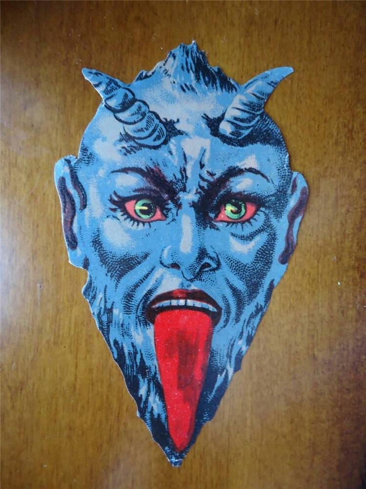 Vintage KRAMPUS Victorian Scrap Diecut Christmas Blue Die Cut Large VERY RARE EBay