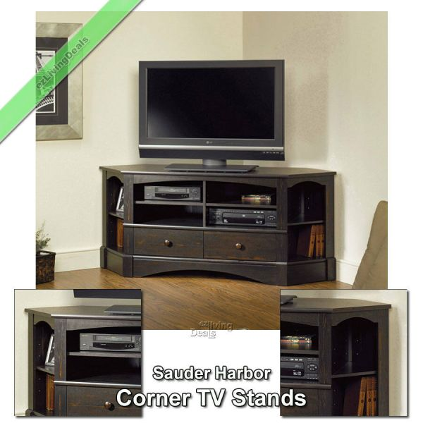 Sauder Corner Tv Stand 60 Console Table Stands Flat Screens Antique Blk