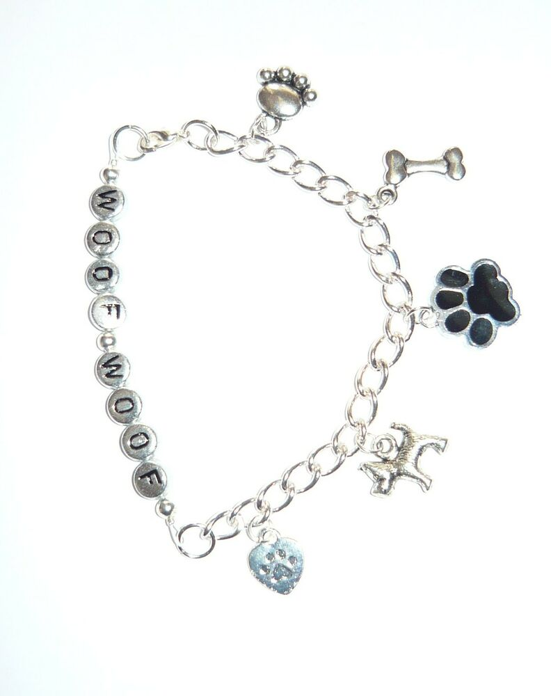 WOOF WOOF- cute dog themed charm bracelet with paw prints