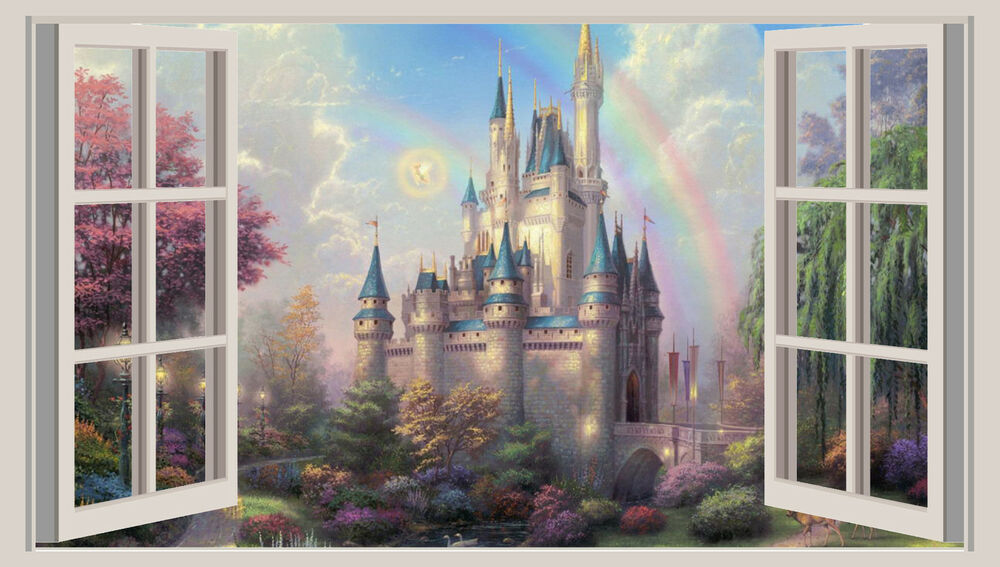 Ebay 3d Wallpaper Photo Huge 3d Window Wall Art Sticker Princess Castle Fantasy