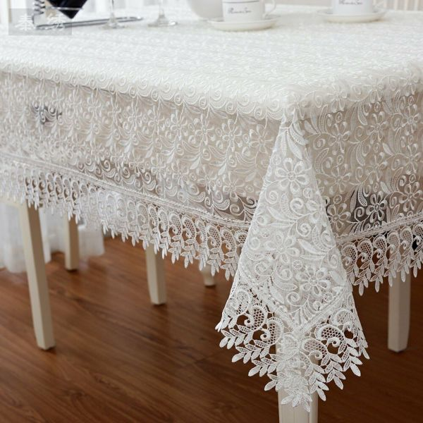 Z287 Lace Victorian Tablecloth White Rectangular Floral