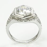 Antique Deco Sterling Silver Diamond Replica Engagement ...