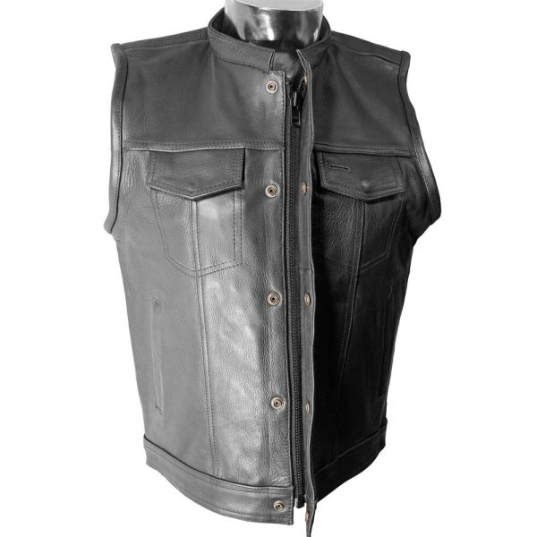 V320z Mens Leather Motorcycle Club Vest With Snaps And