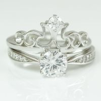 Womens 925 Sterling Silver Solitaire Crown Engagement ...