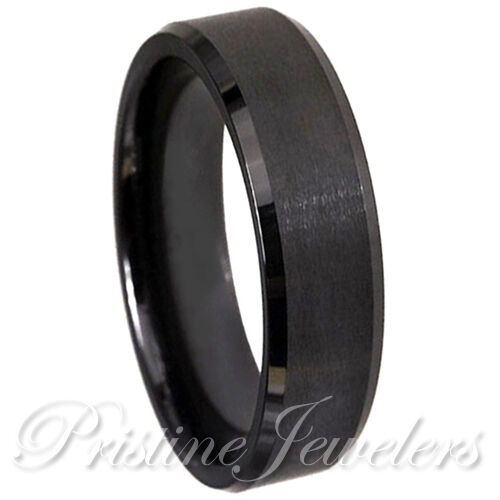 NEW 6mm Black Tungsten Brushed Matte Ring Beveled Wedding