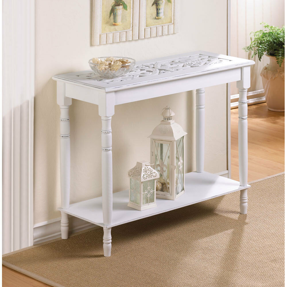 NEW 29 FURNITURE Colonial Carved Top White Wood HALL SOFA ACCENT CONSOLE TABLE  eBay