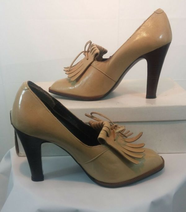 Womens Vintage Leather High Heel Shoes Oxfords 80s 70s