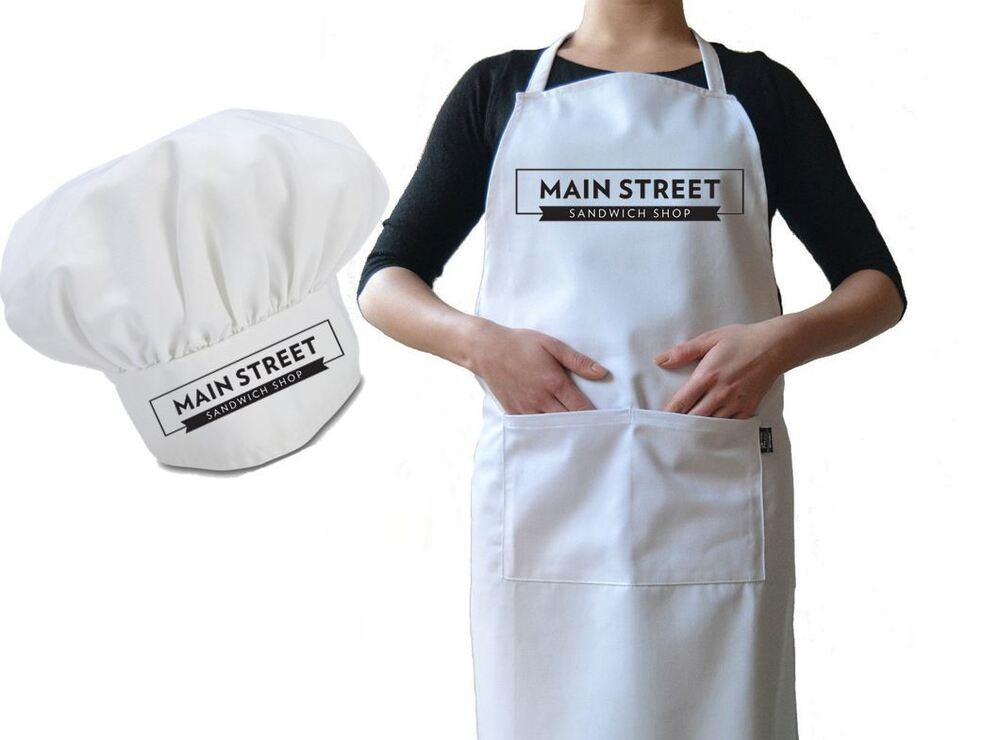 kitchen apron for kids mobile home cabinets personalised cafe business chef hat and set, drill ...