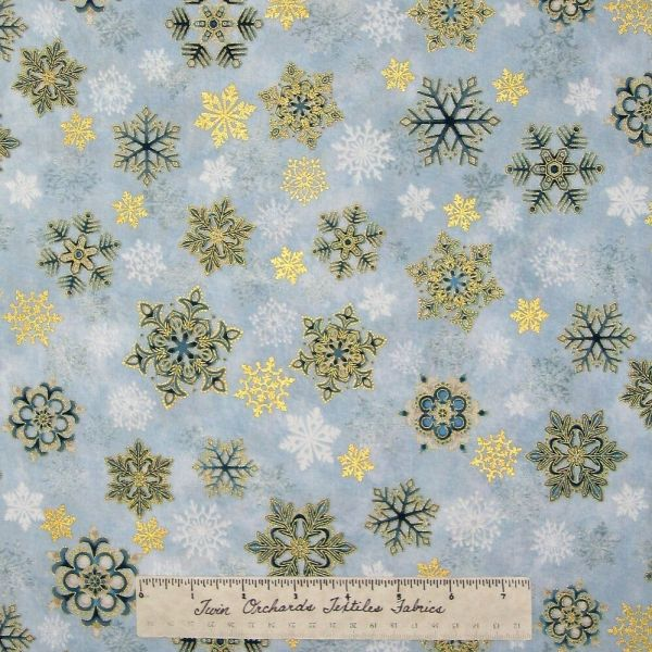 Christmas Fabric - Holiday Flourish 6 Gold Blue Snowflakes