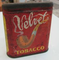 Vintage VELVET Tobacco Tin OLD VERSION VERTICAL Pipe