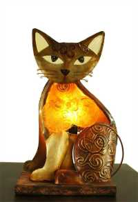 Unique Whimsical Cat Kitty Capiz Shell & Metal Novelty ...