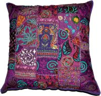 On Sale 24x24 Indian Patchwork Pillow Cover,Purple ...