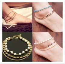 3 Layers Tassel Sequins Beads Barefoot Sandals Anklet