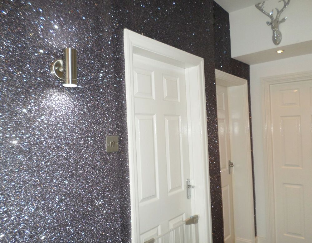 Glitter Wallpaper  Chunky Flake Fabric Backed  GUN METAL