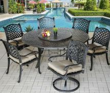 7 Piece 6 Cast Aluminum Nassau Outdoor Patio Dining