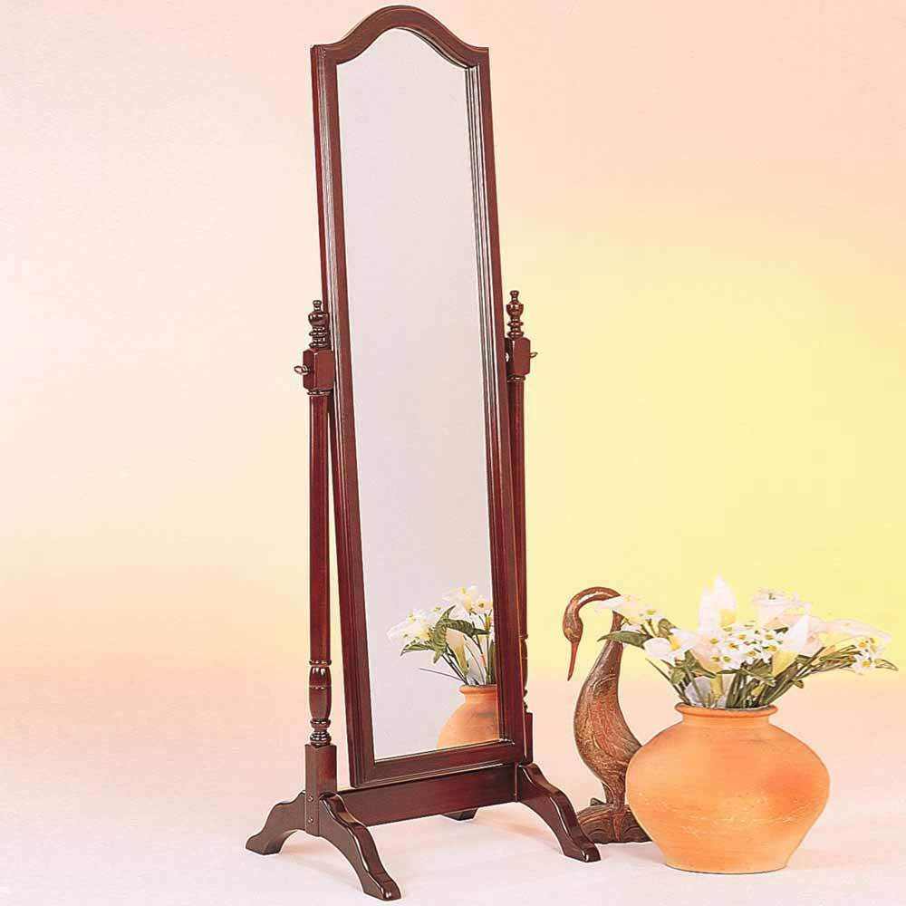 Accent Swivel Standing Full Length Cheval Floor Mirror Arch Top Wood Brown Red  eBay