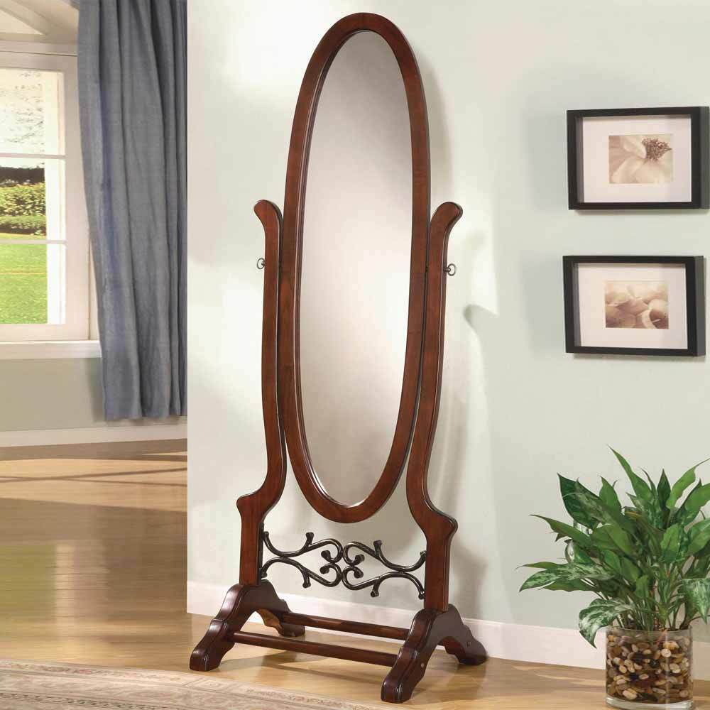 Accent Swivel Standing Full Length Oval Cheval Floor Mirror Wood in Brown Red  eBay