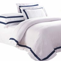 WHITE QUILT COVER Queen Size Blue Trim Doona Duvet Cover