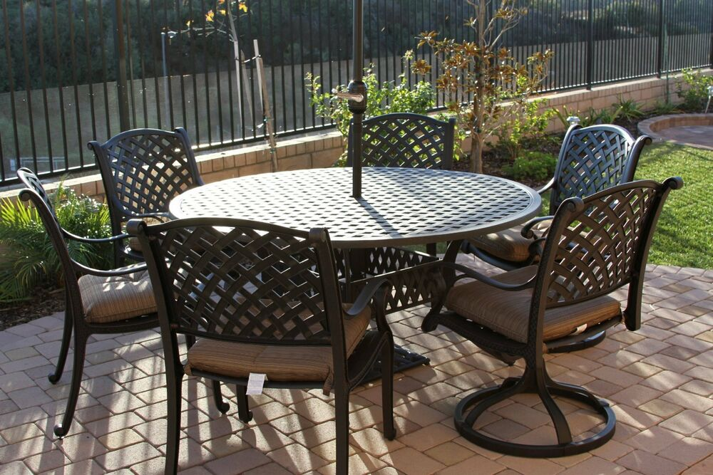 charcoal gray sofa set kennedy bed 7 piece patio dining outdoor cast aluminum ...