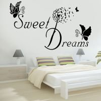 SWEET DREAMS Butterfly LOVE Quote Wall Stickers Bedroom