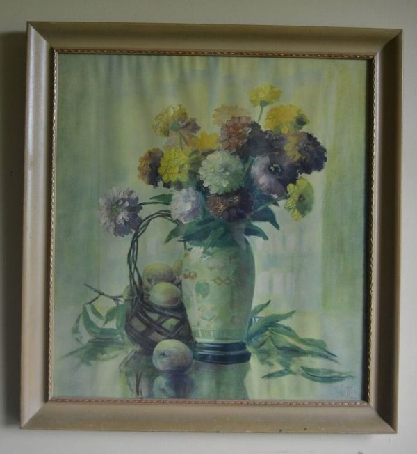 Vintage Large Floral Mums Zinnias Shabby Framed Art Prints
