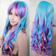 long rainbow colors wavy curly