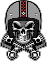 "#321 4"" Cafe Racer Skull Pistons Helmet Decal Sticker ..."