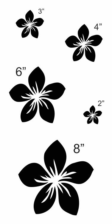 Plumeria Flower STENCIL 5 sizes 2