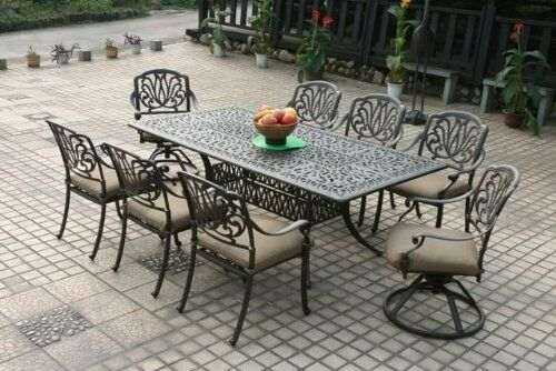 9 Piece Elisabeth Cast Aluminum 9pc Patio Dining Set With