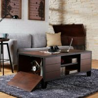 Coffee Table Accent Metal Wood Vintage Living Room ...