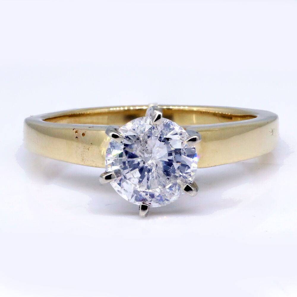 120 Ct Round Cut Diamond Ring Natural %100 Solitaire 14k