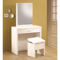 Glossy White Vanity Makeup Table Set w/ Hidden Mirror ...