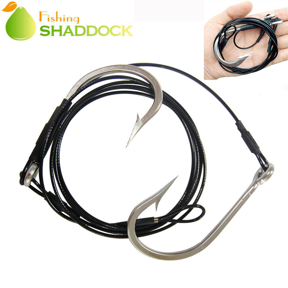 hight resolution of details about shark rig 400lb wire leaders 10 0 12 0 stainless steel hook shark rigging kit