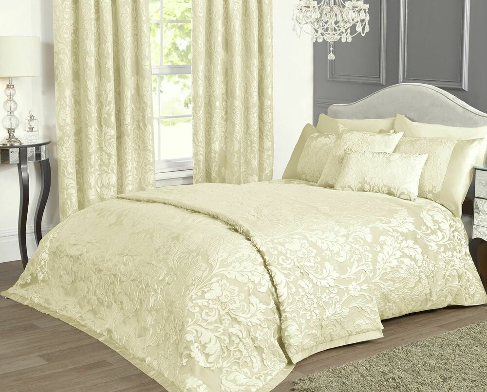 Marston Damask Duvet Cover Embossed Floral Motif Light