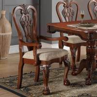 Set of 2 Formal Dining Arm Side Chair Carving Legs Cherry ...