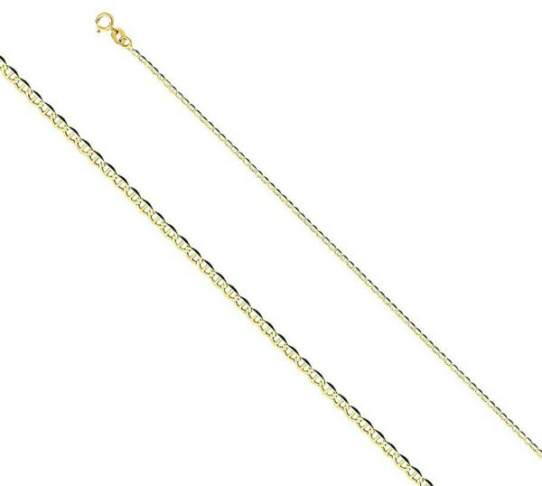 Men Women Solid 14k Yellow Gold Necklace Mariner Chain 1.4 Mm Size 16