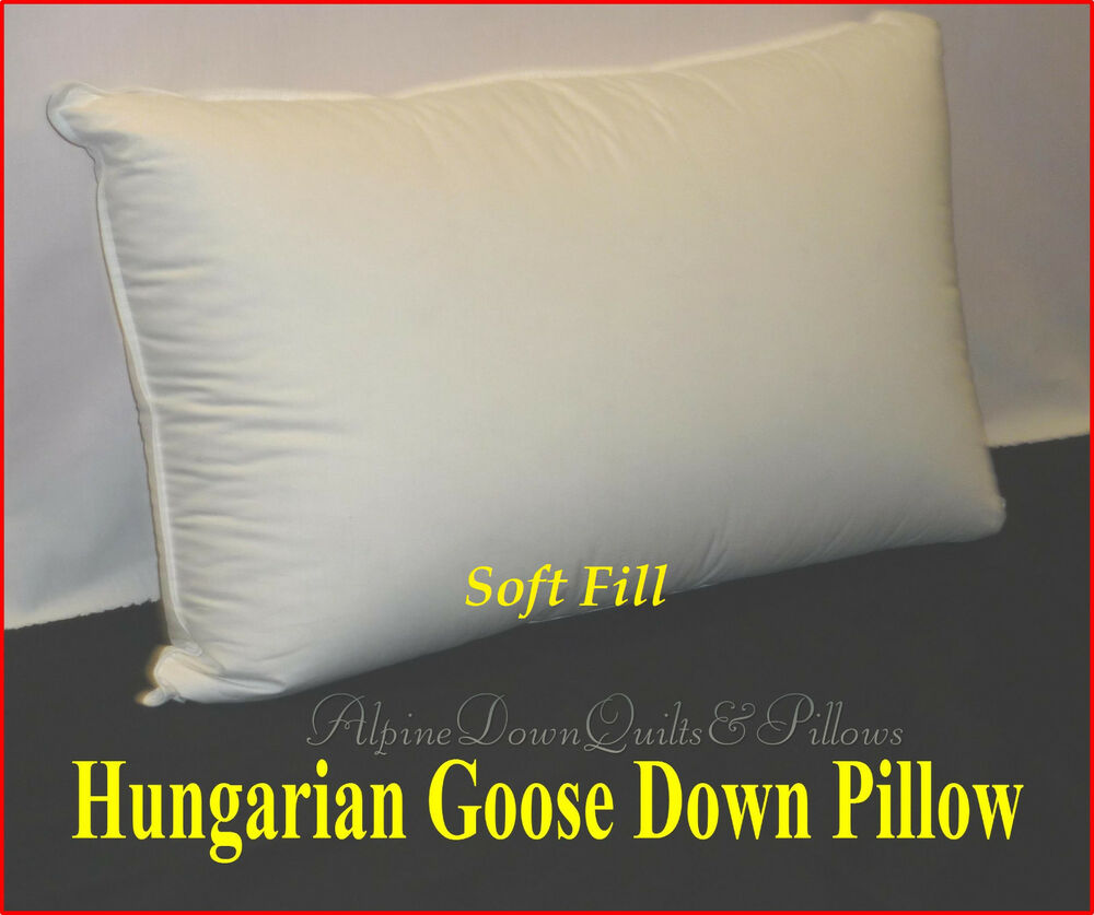 HUNGARIAN GOOSE DOWN PILLOW STANDARD PILLOW 100 COTTON