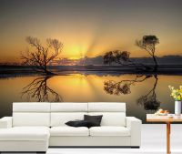 3D Beautiful Sunset lake Full Wall Mural Photo Wallpaper ...